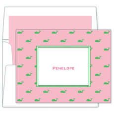Pink Whale Folded Note Cards
