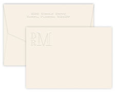 Triple Thick Embossed Monogram Flat Note Cards