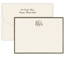 Triple Thick Classic Monogram Border Flat Note Cards