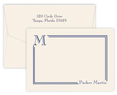 Triple Thick South Hampton Flat Note Cards with Initial
