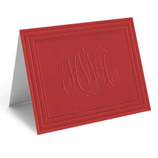 Embossed Red Pepper Monogram Frame Folded Note Cards