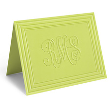 Embossed Citrus Classic Monogram Frame Folded Note Cards