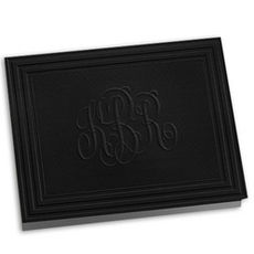 Embossed Black California Classic Frame Monogram Note Cards