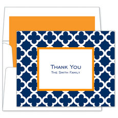 Navy Bristol Tile Foldover Note Cards