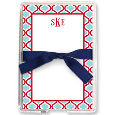 Red & Teal Kate Memo Sheets in Holder