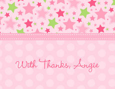 Pink Stars Foldover Note Cards