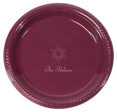 Personalized Star of David Plastic Plates