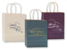 Romantic Script Twisted Handled Bags
