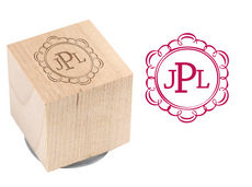 Scallop Border Wood Block Rubber Stamp