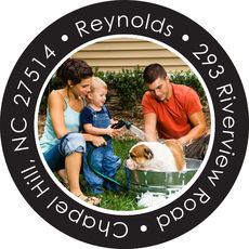 Your Photo on Black Round Address Labels
