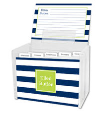 Navy Awning Stripe Recipe Box and Recipe Cards