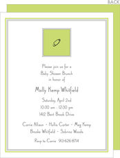 Chartreuse Diaper Pin Shower Invitations