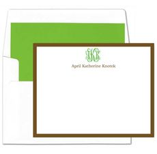Brown Border Flat Note Cards