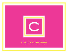 Framed Hot Pink and Yellow Initial Folded Note Cards
