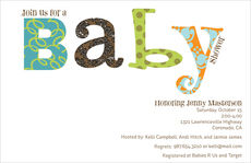 Blue Colorful Wordplay Baby Shower Invitations