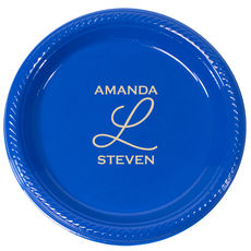 Two Name Monogram Plastic Plates