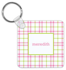 Pink and Green Miller Check Key Chain
