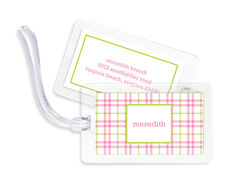 Miller Check Pink and Green Luggage Tags
