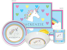 Unicorn Over The Rainbow 4-Piece Dinnerware Set