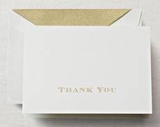 Gold Hand Engraved Thank You Boxed Folded Note Cards