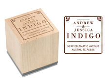 Indigo Wood Block Rubber Stamp