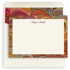 Flame Italian Marble Personalized Flat Stationery