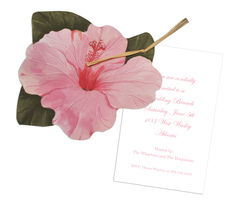 Pink Hibiscus Die-cut Invitations