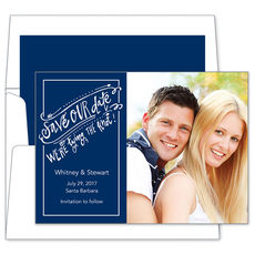 Navy Save the Date Knot Photo Cards