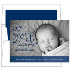 Navy We're in Love Photo Baby Announcements