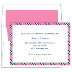 Pink & Navy Repp Tie Invitations