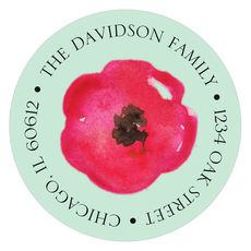 Painted Poppies Round Address Labels