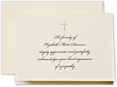 Hand Engraved Cross Lightweight Folded Sympathy Announcements