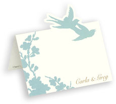 Turquoise Silhouette Die Cut Personalized Place Cards