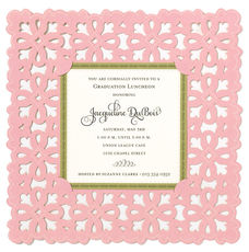 Pink Medallion Die-cut Frame Invitations