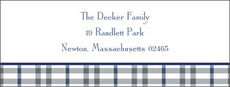 Gray and Blue Check Return Address Labels
