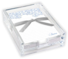 Blue Hydrangea Memo Sheets with Acrylic Holder