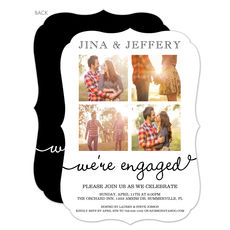 White Our Love Story Engagement Invitations