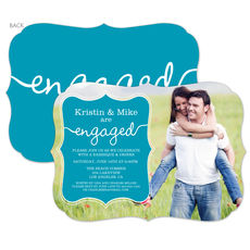Turquoise Together Forever Engagement Invitations