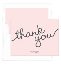Light Pink Marker Thank You Folded Note Cards