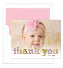 Pink Thank You Pattern Folded Note Cards