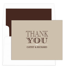 Tan Grand Thank You Folded Note Cards