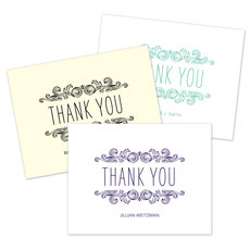 Woodcut Scroll Thank You Note Cards