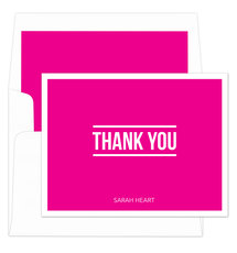 Hot Pink Bold Thank You Note Cards