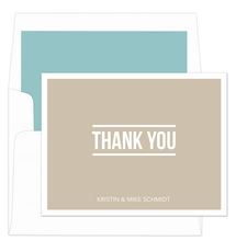 Tan Bold Thank You Note Cards