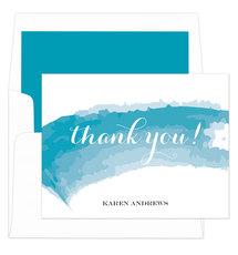Turquoise Watercolor Swash Foldover Note Cards