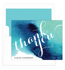 Blue Watercolor Foldover Note Cards