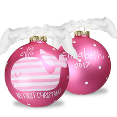Pink Whale Glass Christmas Ornament