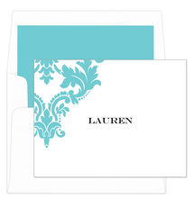 Aqua Damask Scroll Foldover Note Cards
