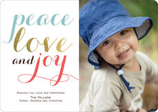 Colorful Peace Love and Joy Photo Cards