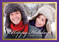 Purple and Gold Foil Border Holiday Photo Cards